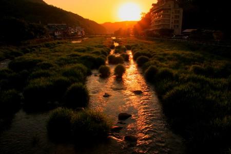 53三朝川の夕景